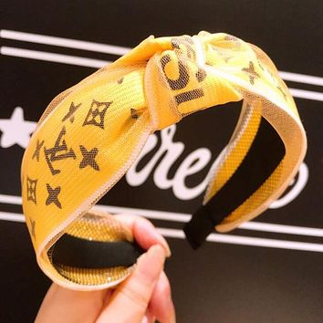 LV X Supreme Trending Sweet Ladies Stylish Letter Mesh Lace Middle Knot Wide Edge Hair Hoop Headband(4-Color) Yellow I12537-1