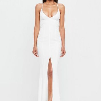 Missguided - Peace + Love White Slip Fishtail Maxi Dress