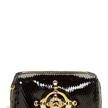 Versus Black Patent Python Embossed Gold Chain Bag