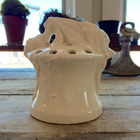 Vintage Ceramic White Flower Frog, White Pottery, Spanish Moss, Cream, Vase