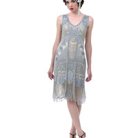 1920s The Bosley Silver Beaded Flapper with Beaded Fringe Dress - Unique Vintage - Prom dresses, retro dresses, retro swimsuits.