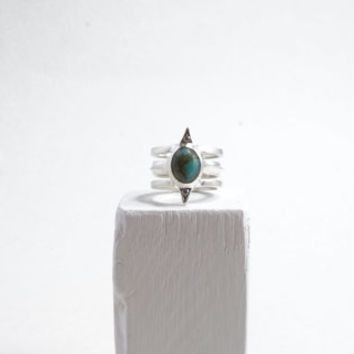 Sterling silver pinnacle ring - multi-band ring with turquoise and diamonds