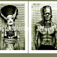 Franky and wife Arrested Art Poster set Signed by Marcus Jones 16.5 x 11.7 inches