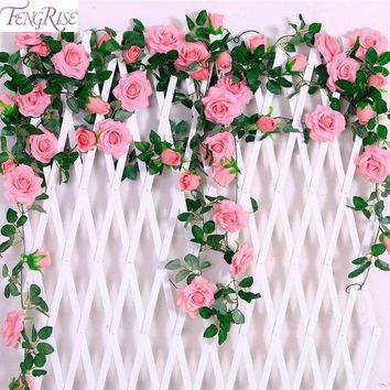 FENGRISE 2.4M/lot Silk Rose Flower With Ivy Vine Artificial Flowers for Home Wedding Decor Decorative Artificial Flower Garland