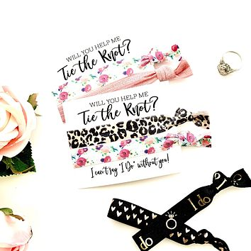 """Will you be my Bridesmaid Proposal Hair Tie Favor, Bridesmaid Proposal I can't say """"I Do"""""""