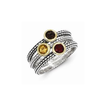 Antique Style Sterling Silver 0.87 Gemstone 3 Stackable Rings