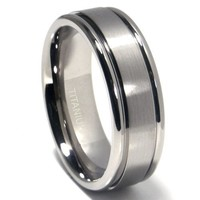 Titanium 8mm Matte Center Double Grooved Wedding Band Ring