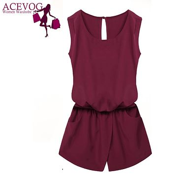 ACEVOG Summer Jumpsuit Women Playsuit Jumpsuit Casual Sexy Lady Sleeveless Backless Elastic Waist Print Mini Romper overall