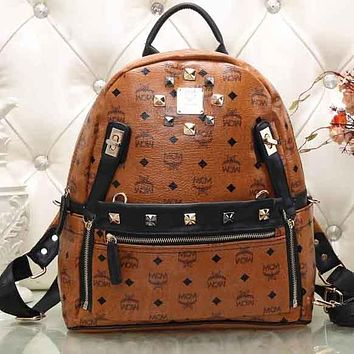 Perfect MCM Fashion Print Leather Satchel Shoulder Bag Handbag Backpack