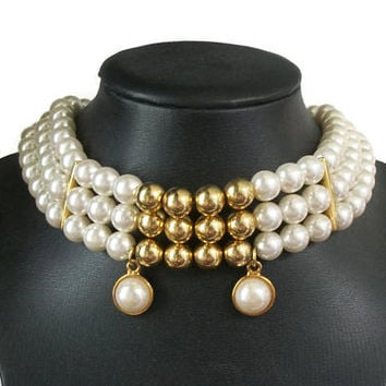 Wide Vintage Pearl Collar Choker Necklace with Charms - Triple Strand 9mm Faux Pearls and Gold Tone Beads, Wedding Bride Jewelry Runway