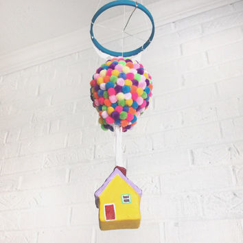 Disney Up, UP Movie, Hot Air Balloon Mobile, Baby Mobile, Up Pixar, Travel Theme Nursery, Up Mobile, Nursery Mobile, Kids Decor, Up House