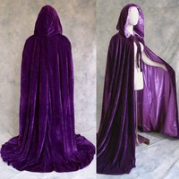 Artemisia Designs Renaissance Medieval Lined Velvet Cloak Purple One Size