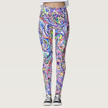 Cute colorful abstrat drawing lines leggings
