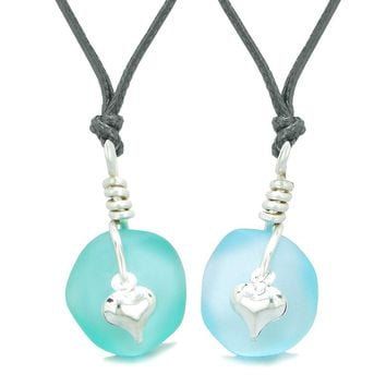 Twisted Twincies Heart Small Sea Glass Lucky Charm Love Couples BFF Set Aqua and Sky Blue Necklaces