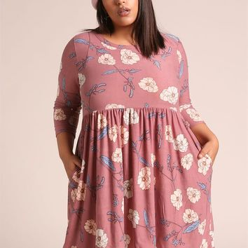 Plus Size Clothing | Plus Size Floral Pocket Shift Dress | Debshops