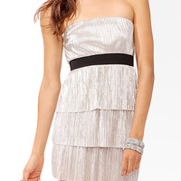 Tiered Metallic Tube Dress