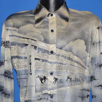 70s Horse Racing Track All over Print Disco shirt Large