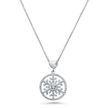 Sterling Silver CZ Snowflake Heart Medallion PendantBe the first to write a reviewSKU# n1348-01