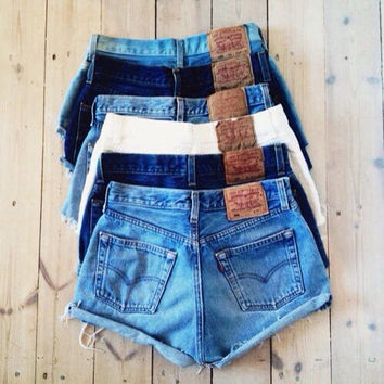 SAN FRANCISCO Custom Made Vintage High Waisted Levi Shorts Denim Jean Shorts Hipster tumblr