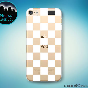 Checkerboard Pattern Checkers Checks Squares White Geometric See-Through Clear Transparent Rubber Case for iPod Touch 6th Gen or 5th Gen