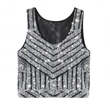 Sliver Striped Sequined Crop