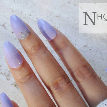 False Nails | Coffin Nails | Ballerina Nails | Lilac + Glitter Ombre | Press On Nails