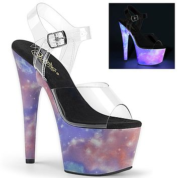 "Adore 708REFL Reflective Galaxy Platform Sandals - 7"" High Heels"
