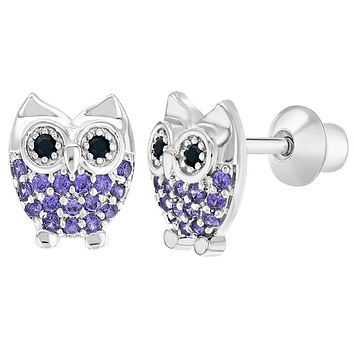 Rhodium Plated Purple CZ Owl Screw Back Earrings Animal Toddlers Kids Girls