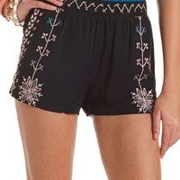 Embroidered Tribal Soft Short: Charlotte Russe