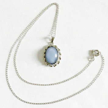 "Vintage Blue Moonglow Cabochon Glass Pendant in Sterling Silver Setting on 16"" Chain, Sky Blue, Baby Blue Pendant"