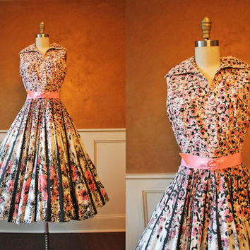 1950s Dress - Vintage 50s Dress - Pink Black Atomic Rose Cotton Sundress Rhinestones M - Pitch Perfect