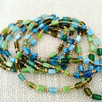 Necklace, Gorgeous, Ultra Long 30 Inch Necklace with Glass Cube Beads. Hand cut & hand made. Wrap Bracelet or Double Strand Necklace. Assorted color options available.