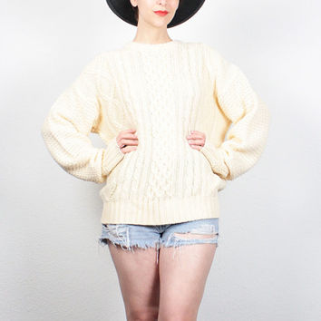 Vintage 1980s Sweater Cable Knit Sweater 1980s Sweater Cream Colored Ivory Jumper Fishermans Sweater Jumper Preppy Pullover Jumper L Large