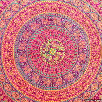 BSD249 Maroon base mandala orange red print elephant  Mandala tapestry, hippie wall hanging, bohomeian tapestry, Hippie bed throw, indian