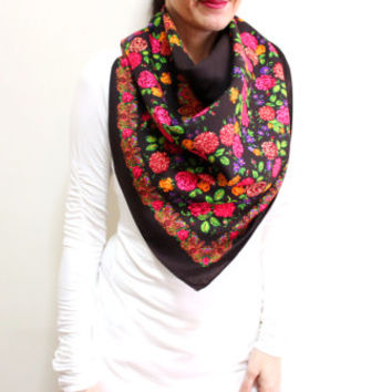 Multicolor Scarf, Square Scarf, Floral Cotton Scarf, Scarf With Flowers, Brown Pink Orange Green
