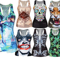 Free Shipping 2016  Summer New Fashion Women T-shirt RIBS 3D Vest Tops Skull Bone Camisole Sexy Tank Top