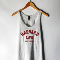 Harvard Law Just Kidding Tank Top in Heather White