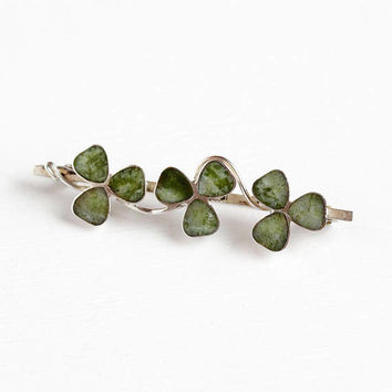 Vintage Sterling Silver Three Leaf Clover Connemara Marble Bar Pin - Triple Shamrock Irish Motif Green Gem Brooch Jewelry Made in England