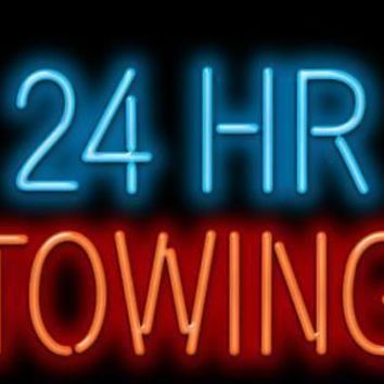 24 HR Towing GLASS Tube neon light sign Handcrafted Automotive signs Shop Store man cave bar gas oil