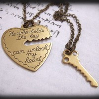 Key To My Heart, antique brass two necklaces set