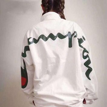 Champion Trending Women Men Stylish Big Logo Print Zipper Cardigan Sweatshirt Jacket Coat Windbreaker Sportswear White