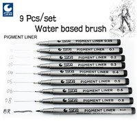 STA 9 pcs/Lot Different Types Pigment Liner Water Based Brush Markers for Drawing  Handwriting Signature Art Supplies Stationery