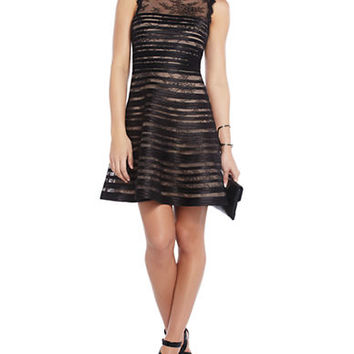 Bcbgmaxazria Banded Lace A Line Dress