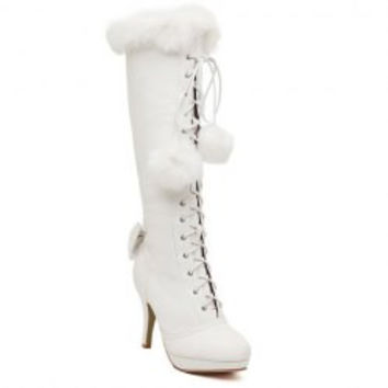 Sweet Faux Fur and Bowknot Design Women's High Heel Boots