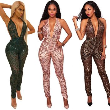 Women Sexy Hollow out Jumpsuits