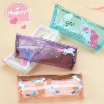 Cute School Pencil Case Kawaii Unicorn Fruit Transparent Penal Pencilcase for Kids Boys Girls Creative Pen Bag Stationery Pouch