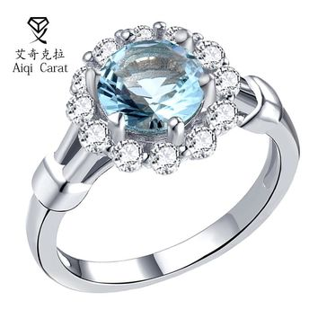 AIQICARAT 2017 Newest Blue Zirco Rings Blue CZ Flower Design Silver Rings For Womens Wedding Engagement Party Date Jewelry Gift