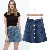 Stylish High Rise With Pocket Denim Women's Fashion Skirt [5013354116]