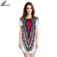 Lovesky  New 2015 Women Summer Dress Traditional African Print Dashiki Party Dresses Short Sleeve T shirt Dress Plus Size Tops