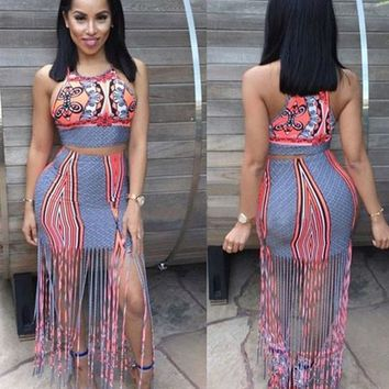Multicolor Patchwork Geometric Print Tassel Two Piece Round Neck Maxi Dress